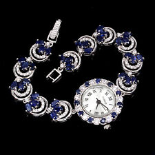 Alluring Fancy Natural AAA Blue Sapphire 925 Sterling Silver Watch
