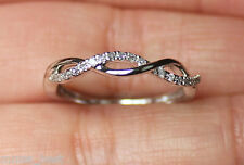 New Sz7 10K 1/10ct White Diamond Twist Band Wedding Ring Stackable White Gold