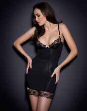 Agent Provocateur JOSELINE SLIP in BLACK STRETCH SATIN - 32B - BNWT