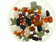 Vintage Gemstone Mix Chunky Quartz Amethyst Carnelian Onyx Agate Polished Beads