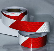 50MM x 3M CAR REFLECTIVE TAPE RED WHITE HONEYCOMBS SELF-ADHESIVE TRUCK BOAT KJ