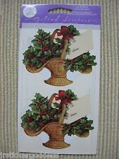 NIP Gifted Line Vtg Stickers Christmas Holly Baskets From Labels John Grossman &