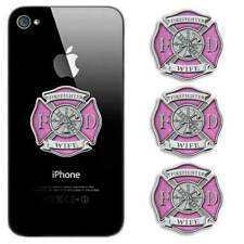 Pink Maltese Cross Firefighter Phone Sticker -  Wife Mom Decal