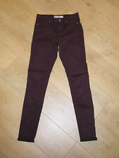 """TOPSHOP MOTO LEIGH SKINNY WINE JEGGINGS JEANS SIZE 6 W25"""" 32"""" £38 VGC"""