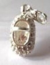925 SILVER - PLATE AND RHINESTONE  BABY SHOE  CLIP ON CHARM FOR BRACELETS -NEW