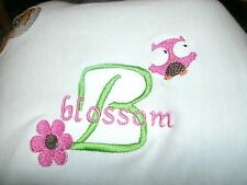 Personalized Baby Infant Toddler Blanket Girl Owl & Flower Font