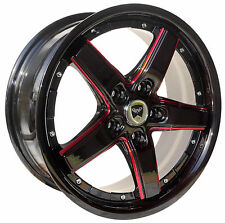 4 GWG Wheels 17 inch Black Red Mill DRIFT Rims fits CHEVROLET VOLT 2012 - 2016