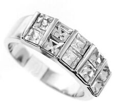 Ladies Ten Square Cut Crystal Stones Silver Rhodium Plated Ring Size 8