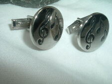 VINTAGE MUSICAL NOTES SILVERTONE CUFFLINKS IN GIFT BOX