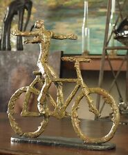 NEW AGED SAGE GREEN METAL FINISH WITH RUST COLOR BIKE FIGURINE STATUE BICYCLE