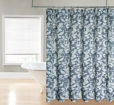 Gray Palermo Floral Scroll Paisley Fabric Shower Curtain