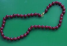 "18"" MATCHED DEEP RED JADE HAND KNOTTED 14KT PLATED NECKLACE, GOOD LUCK RED JADE"