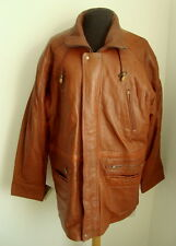 MEN'S TAN LEATHER 3/4 COAT - SIZE L - #2886