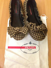 PREOWNED PRADA BOW BALLET SLIPPER HAIRCALF UPPER AND BOW!!! SIZE 7 1/2!!