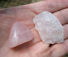 2 x ROSE QUARTZ CRYSTALS  * 1 ROUGH RAW & 1 POLISHED STONE  * GIFT BAG * ID CARD
