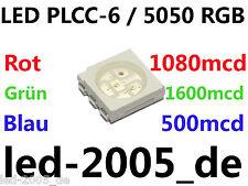 30 x SMD LED PLCC-6 RGB 1080 1600 500mcd,SMD LED plcc6 5050 Rossi Verdi Blu,