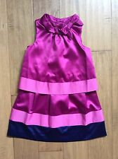Janie And Jack Girls Occasion Dress Hot Pink Navy Blue 5 EUC