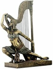 "9.75"" Egyptian Dancer w/ Harp Egypt Home Decor Statue Figure Sculpture"