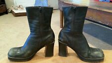 Steve Madden LIZIE womens Black Leather Chunky Heel Ankle Boots Size 8.5