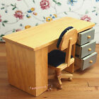 Dollhouse Miniature 1:12 Toy Study Room Wooden Desk And Chair Set SPO180
