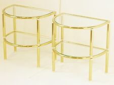 PAIRE DE CHEVETS TABLES BASSES VINTAGE 1970 CHROME & DORE 70's BEDSIDE TABLES