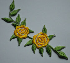 YELLOW ROSES FLOWER Embroidered Iron Sew On Cloth Patch Badge  APPLIQUE