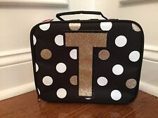 Justice Black White Gold Polka Dot Stripe Initial T Lunch Box Tote New!