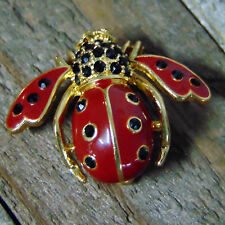 Joan Rivers Crystal LADYBUG BEE PIN Brooch Enamel Red Black Onyx Rhinestone NWOB