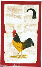 BEAUVILLE French Country Dish Kitchen Towel Red ROOSTER Feather Pen + FREE GIFT