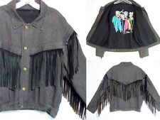 VTG 80's Men's Denim Leather Tassel Jean Jacket Streetwear Baggy Hammer U-MEN L