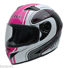 Casco moto integral NZI MUST II WHITE PINK color rosa negro y blanco talla S