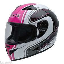 Casco moto integral NZI MUST II WHITE PINK color rosa negro y blanco talla L