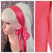 RED POLKA DOT SPOT SATIN HAIR SCARF HEAD BAND SELF TIE BOW 60s RETRO FANCY DRESS