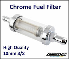 REUSABLE WASHABLE 10MM 3/8 CHROME & GLASS INLINE FUEL FILTER
