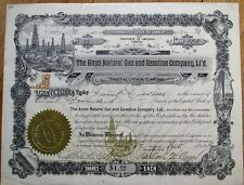 Amm Natural Gas & Gasoline Co. 1916 Stock Certificate - Toronto, Ontario, Canada
