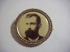Antique VICTORIAN EDWARDIAN Gold Mourning PHOTO PIN BROOCH 1 1/2 inch PAT'D 1898