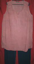 "!!REDUCED!! OSKA linen SIZE 5 tunic top PLUS SIZE 44"" bust sleeveless DUSKY PINK"