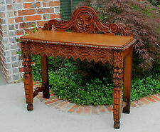 Antique French Oak Gothic Renaissance Highly Carved Entry Hall Sofa Table Desk