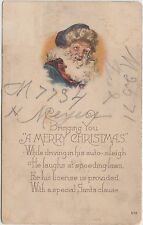 SANTA CLAUS Merry Christmas Greetings Holiday Postcard 1924 BLUE SUIT 301