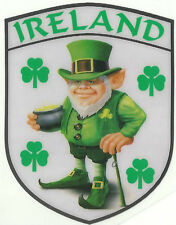 Ireland Irish Leprechaun and Shamrock Internal Car Window Sticker Decal