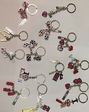 UNION JACK  6 KEYRINGS - ENGLAND SOUVENIRS KEYCHAIN, UJ LONDON KEY RINGS