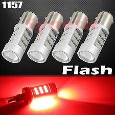4x 1157 LED 2835 Bright Red Flashing Strobe Tail Brake Rear Alert Safety Lights