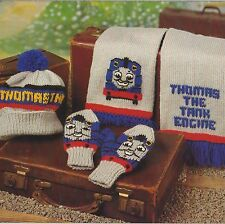 Thomas the Tank Engine Hat, Scarf and Mitts Knitting Pattern In DK. 766