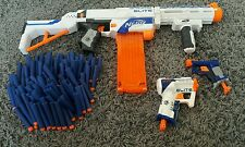 Nerf N-strike Elite Retaliator Gun White + Triao, Jolt, 18 mag, Bullets Bundle!!