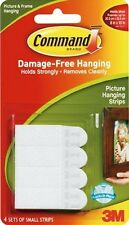 3M COMMAND Picture Hanging Strips Small 4Pack Self Adhesive 1.8kg 3.9Lb #A007