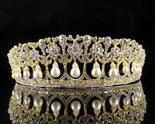 PRINCESS PEARL AUSTRIAN CRYSTAL RHINESTONE HAIR TIARA CROWN WEDDING T11895G GOLD