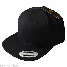 NEW FLEXFIT SNAPBACK CAP *BLACK* PLAIN BASEBALL CLASSIC FITTED FLAT PEAK HAT