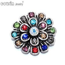 1pc 18mm Metal Snap Button Colorful Flower Pattern Fit Snap Jewelry KZ0187d