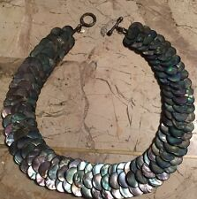 HUGE ABALONE SHELL 3 TIER STATEMENT NECKLACE STERLING TOGGLE CLASP STUNNING HTF