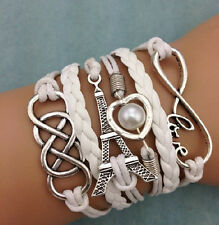 NEW Infinity Love Heart Tower Friendship Antique Silver Leather Charm Bracelet 4